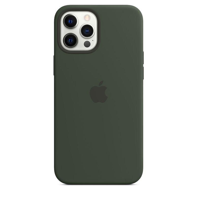 Capa para iPhone 12 Pro Max em silicone com MagSafe - Verde Chipre