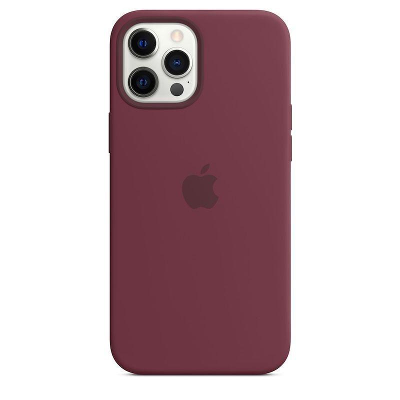 Capa para iPhone 12 Pro Max em silicone com MagSafe - Ameixa