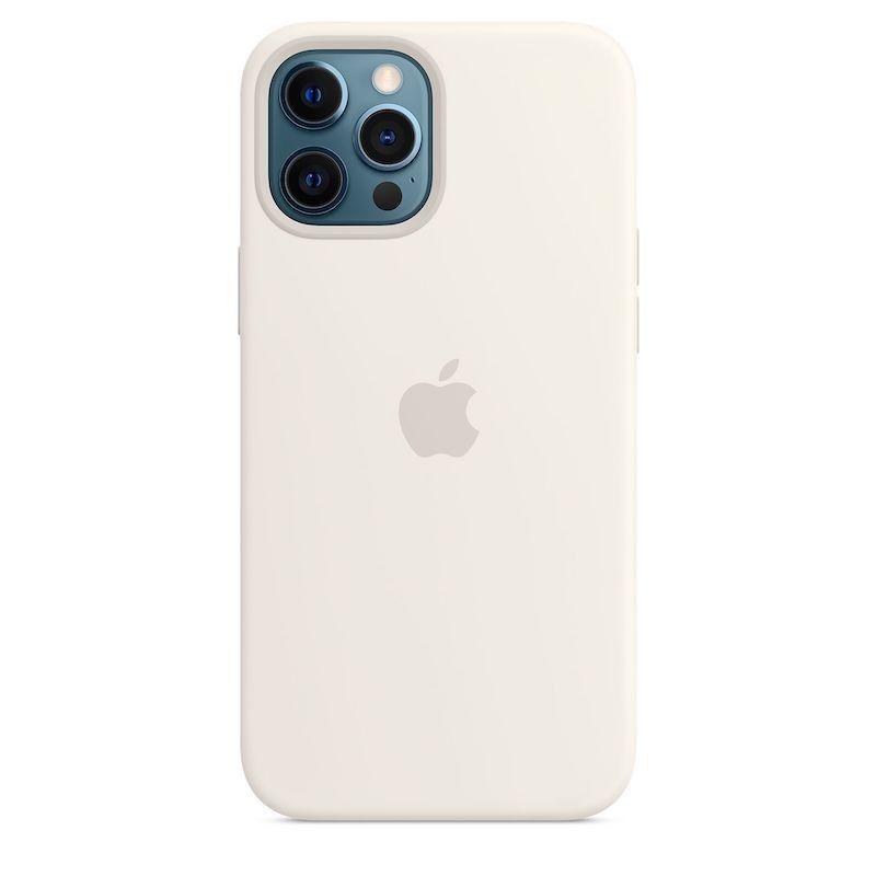 Capa para iPhone 12 Pro Max em silicone com MagSafe - Branco