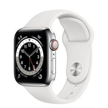 Apple Watch 6, GPS+Cellular 40 mm, aço - Prateado, bracelete desportiva branca