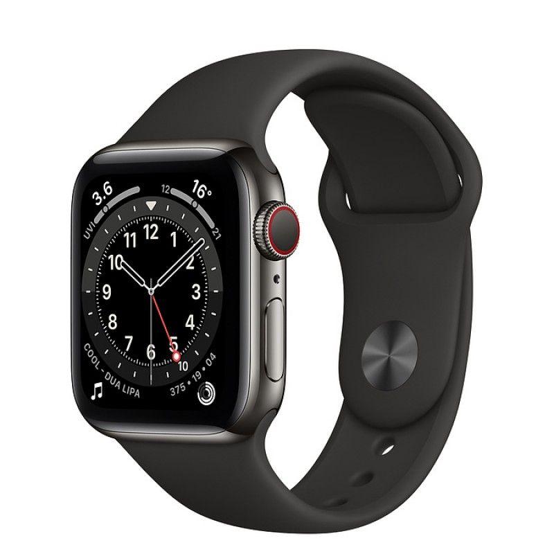 Apple Watch 6, GPS+Cellular 40 mm, aço - Grafite, bracelete desportiva preta