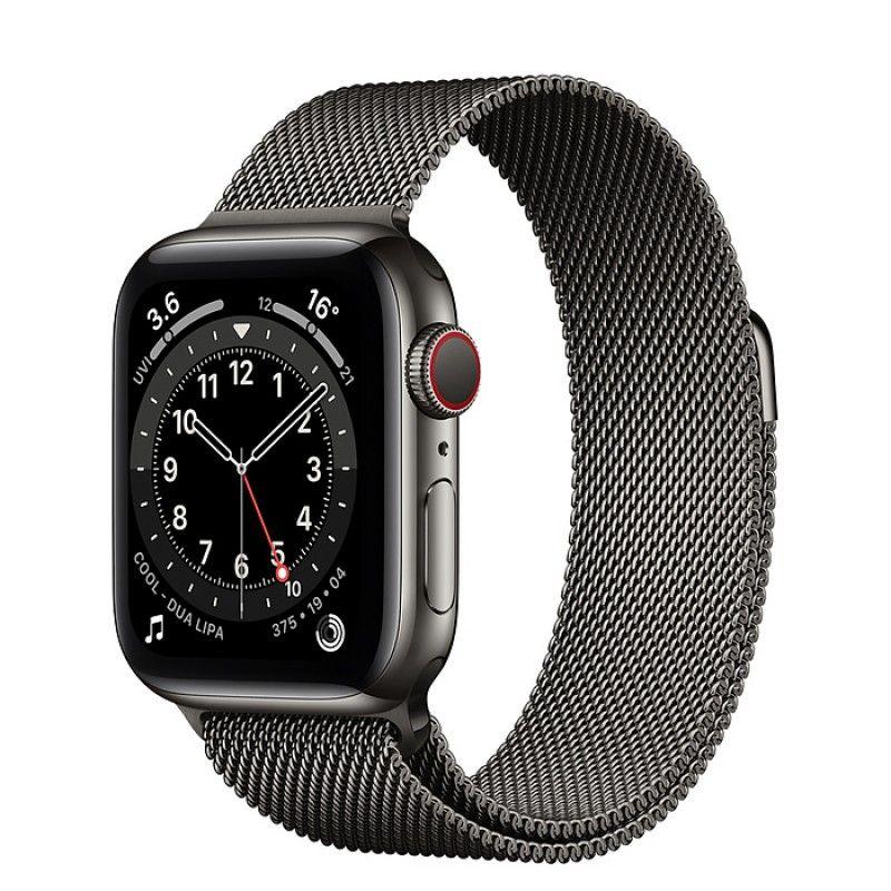 Apple Watch 6, GPS+Cellular 40 mm, aço - Grafite, bracelete milanesa preta