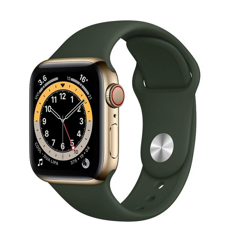 Apple Watch 6, GPS+Cellular 40 mm, aço - Dourado, bracelete desportiva Verde Chipre