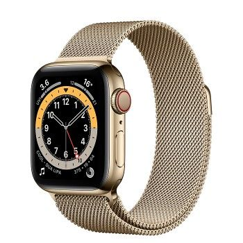 Apple Watch 6, GPS+Cellular 40 mm, aço - Dourado, bracelete milanesa dourada