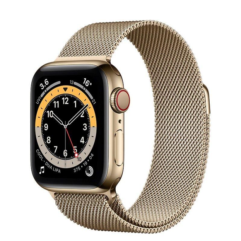 Apple Watch 6, GPS+Cellular 40 mm, aço - Dourado, bracelete milanesa dourada
