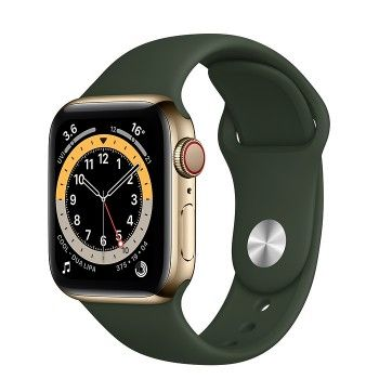 Apple Watch 6, GPS+Cellular 40 mm, aço - Dourado, bracelete desportiva Verde Chipre