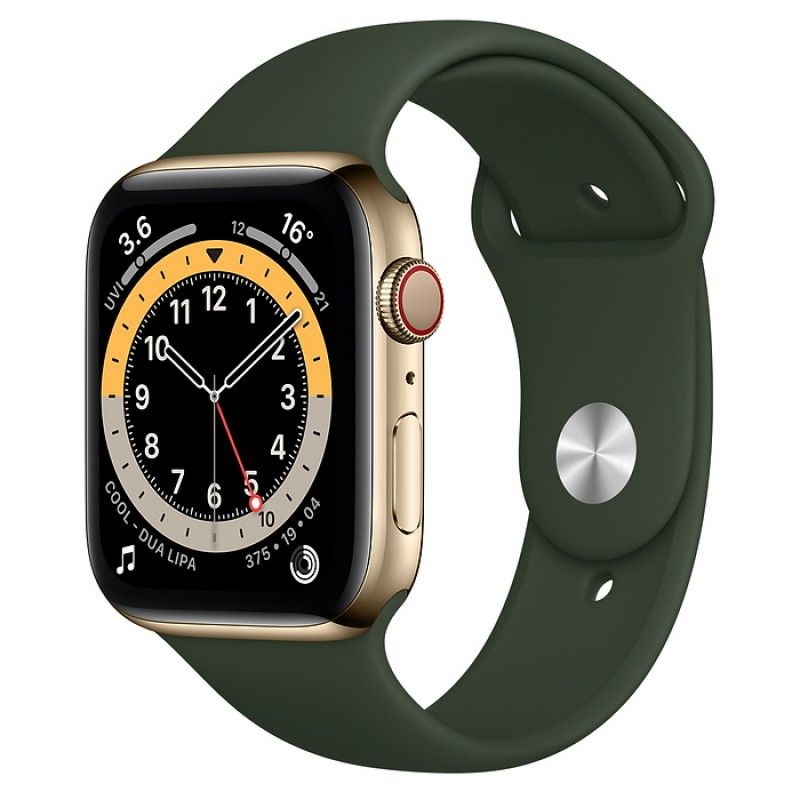 Apple Watch 6, GPS+Cellular 44 mm, aço - Dourado, bracelete desportiva Verde Chipre