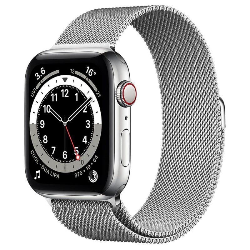 Apple Watch 6, GPS+Cellular 44 mm, aço - Prateado, bracelete milanesa prateada