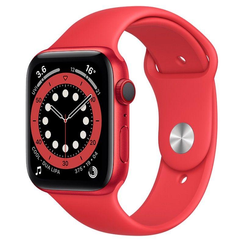 Apple Watch 6, GPS+Cellular 44 mm - Vermelho (Product Red) bracelete desportiva vermelha