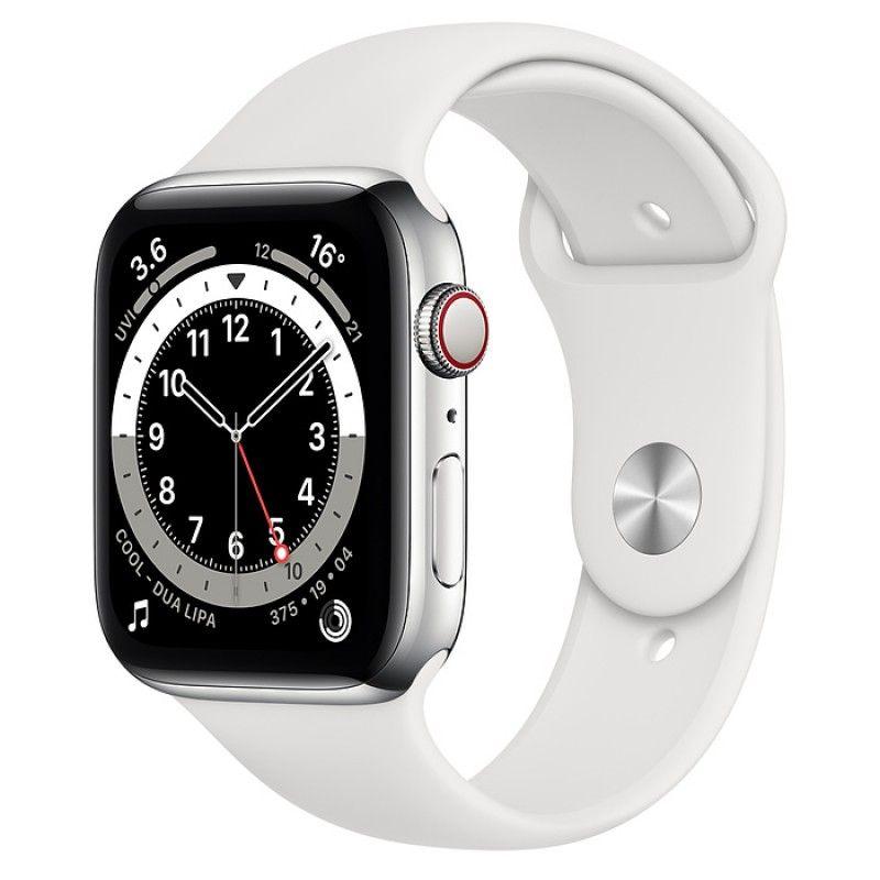 Apple Watch 6, GPS+Cellular 44 mm, aço - Prateado, bracelete desportiva branca