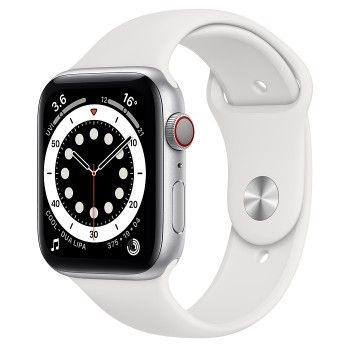 Apple Watch 6, GPS+Cellular 44 mm - Prateado, bracelete desportiva branca