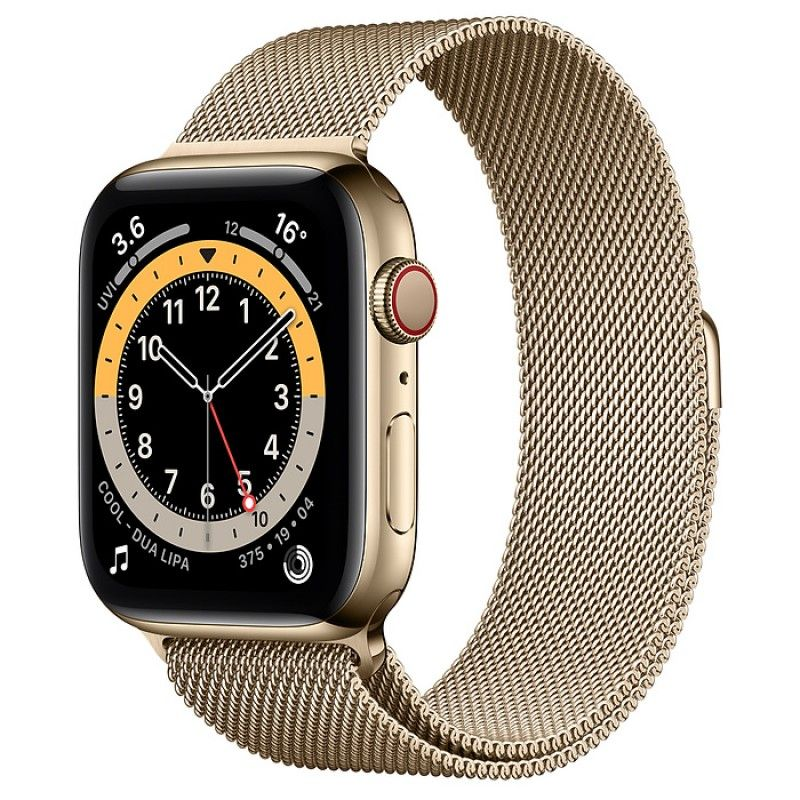Apple Watch 6, GPS+Cellular 44 mm, aço - Dourado, bracelete milanesa dourada