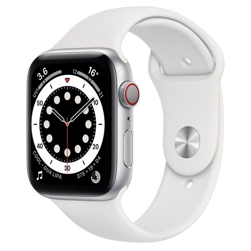 Apple Watch 6, GPS+Cellular 44 mm - Prateado, bracelete desportiva branca