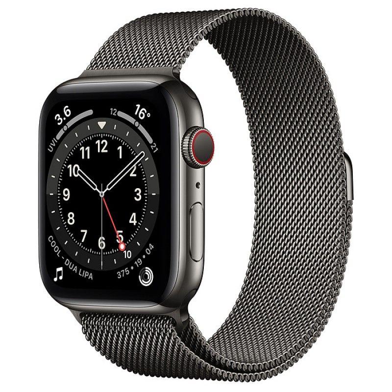 Apple Watch 6, GPS+Cellular 44 mm, aço - Preto grafite, bracelete milanesa preto grafite