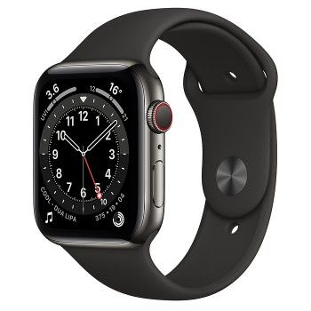 Apple Watch 6, GPS+Cellular 44 mm, aço - Preto grafite, bracelete desportiva preta