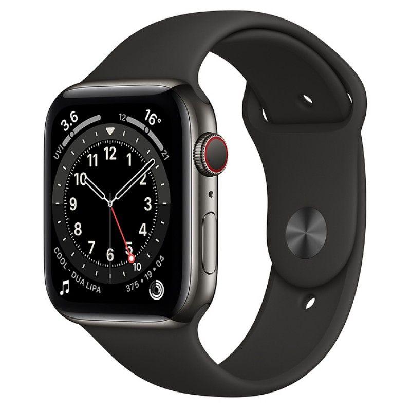 Apple Watch 6, GPS+Cellular 44 mm, aço - Preto grafite, bracelete desportiva preta