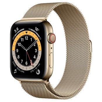 Apple Watch 6, GPS+Cellular 44 mm, aço - Dourado, bracelete milanesa dourada
