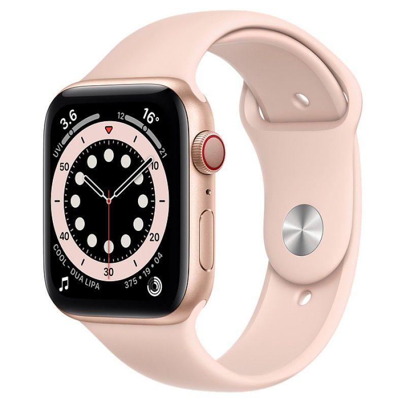 Apple Watch 6, GPS+Cellular 44 mm - Dourado, bracelete desportiva Pink Sand