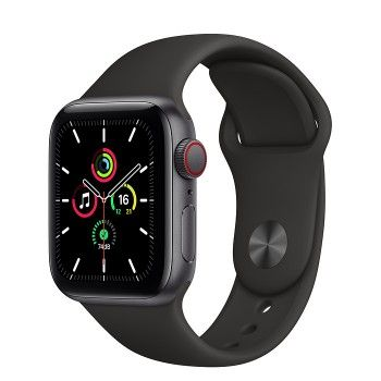 Apple Watch SE, GPS+Cellular 40 mm - Cinzento Sideral, bracelete desportiva preta
