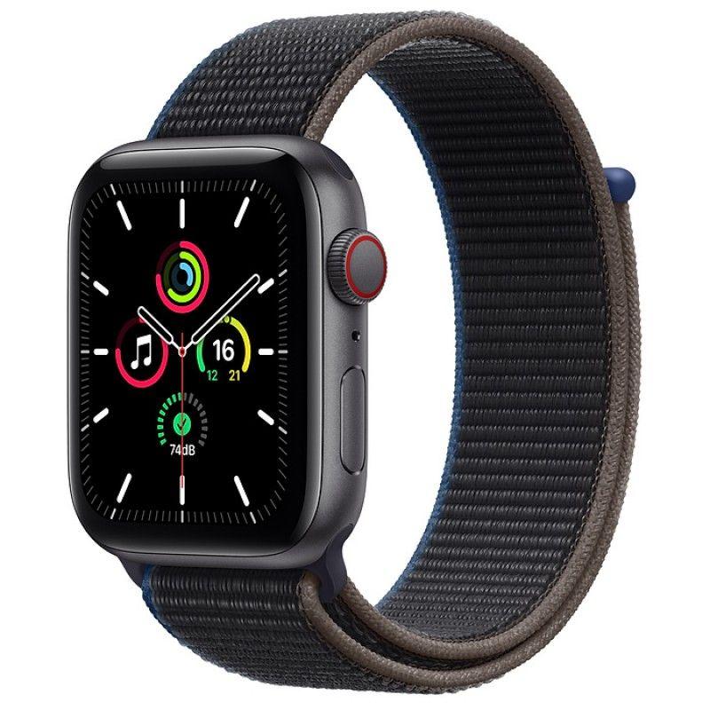 Apple Watch SE, GPS+Cellular 44 mm - Cinzento sideral, bracelete desportiva Loop carvão