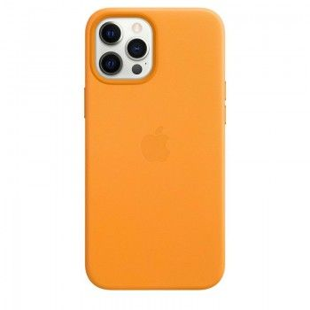 Capa em pele com MagSafe para iPhone 12 Pro Max - Laranja Califórnia