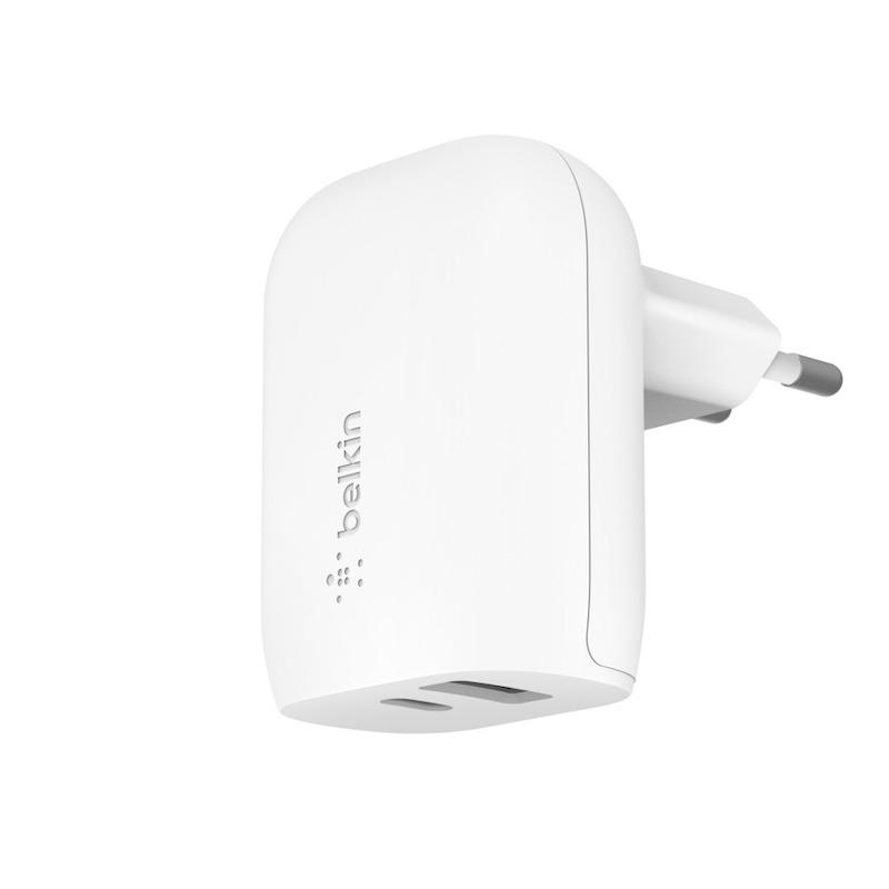Carregador de parede duplo com 32W ((20W USB-C & 12W USB-A)