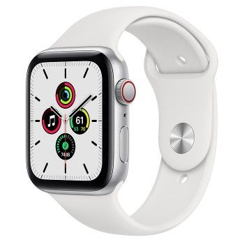Apple Watch SE, GPS+Cellular 44 mm - Prateado, bracelete desportiva branca