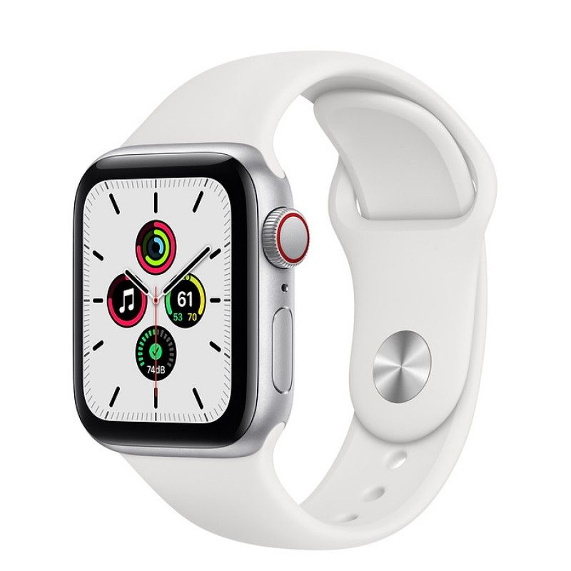 Apple Watch SE, GPS+Cellular 40 mm - Prateado, bracelete desportiva branca