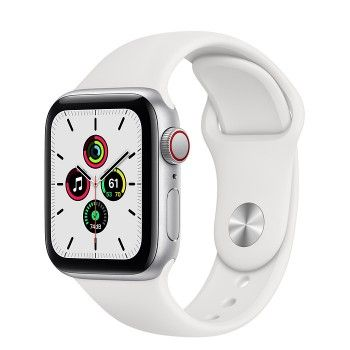 Apple Watch SE, GPS+Cellular 40 mm - Prateado, bracelete desportiva branca