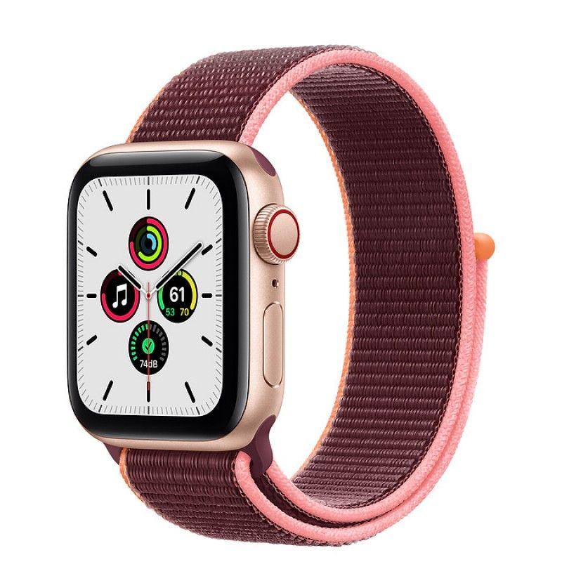 Apple Watch SE, GPS+Cellular 40 mm - Dourado, bracelete desportiva Loop Ameixa