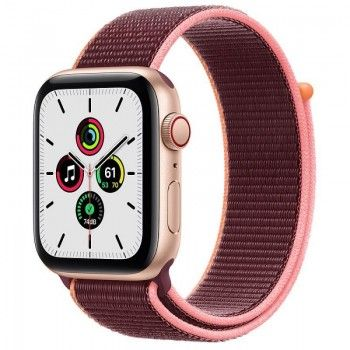 Apple Watch SE, GPS+Cellular 44 mm - Dourado, Loop Ameixa - Caixa aberta