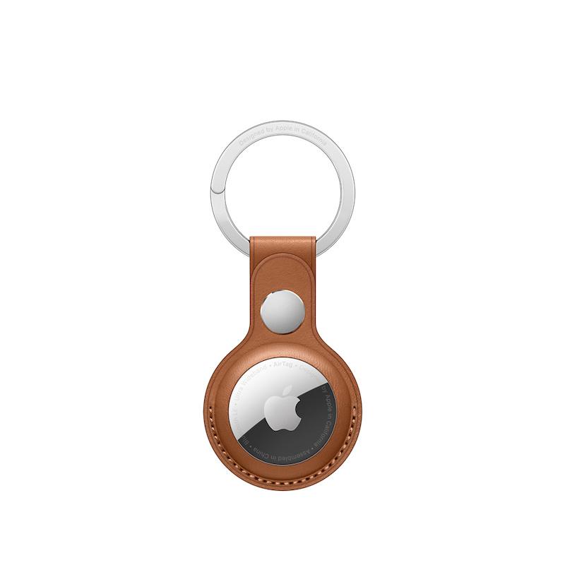 Porta-chaves em pele para AirTag - Castanho sela