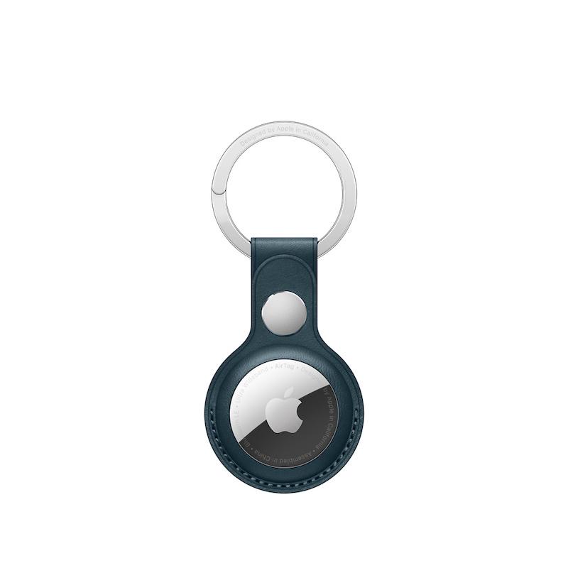 Porta-chaves em pele para AirTag - Azul Báltico