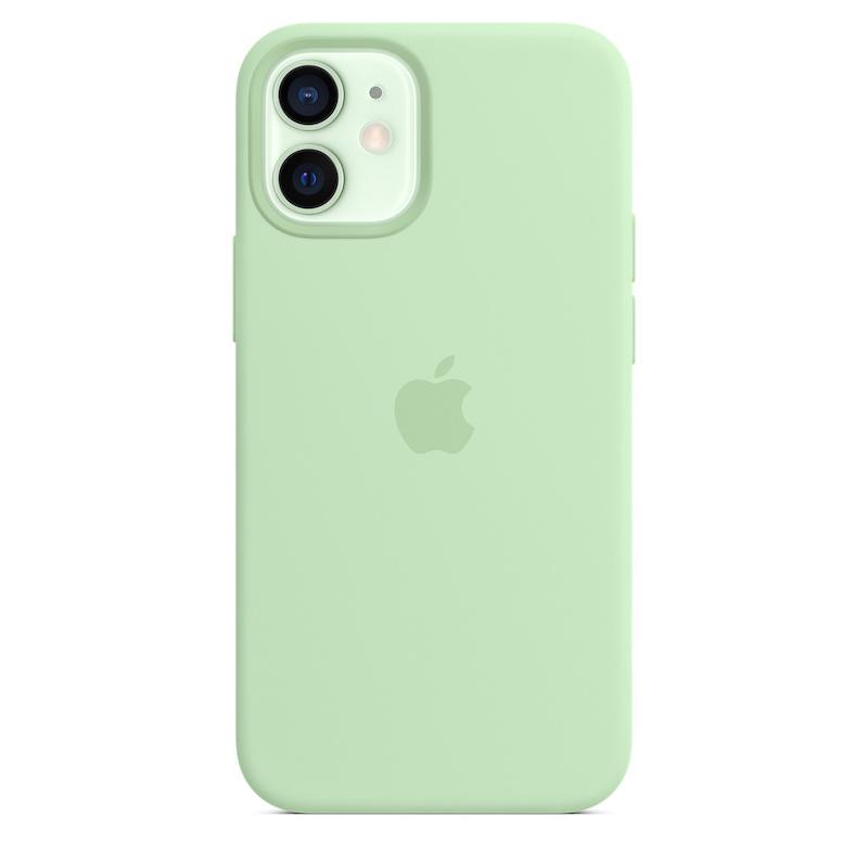 Capa para iPhone 12 mini em silicone com MagSafe - Pistácio