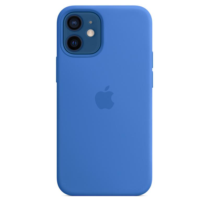 Capa para iPhone 12 mini em silicone com MagSafe - Azul Capri