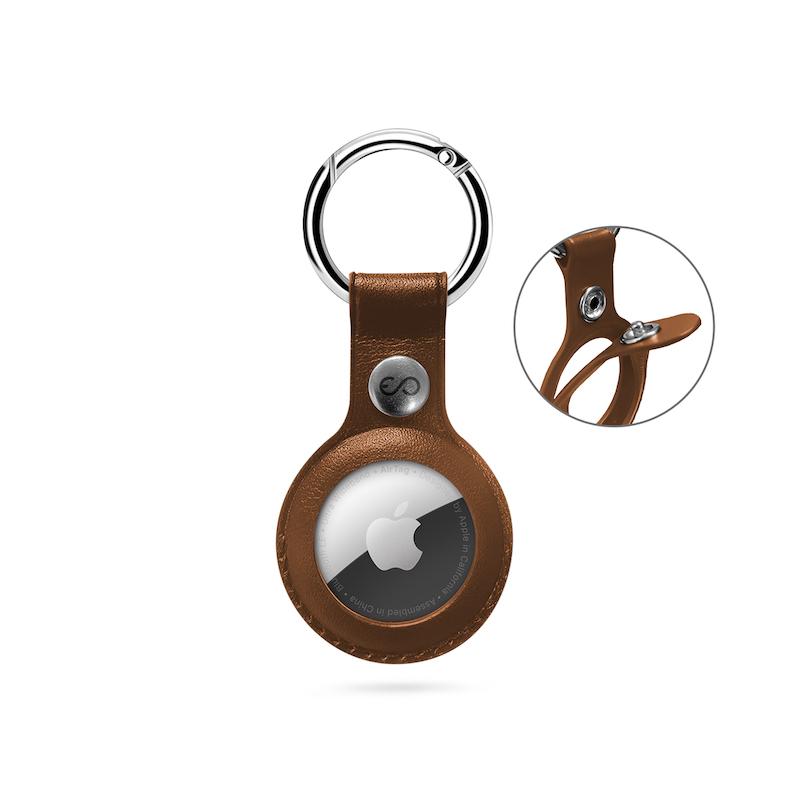 Porta-chaves EPICO para AirTag em Eco-Pele - Castanho