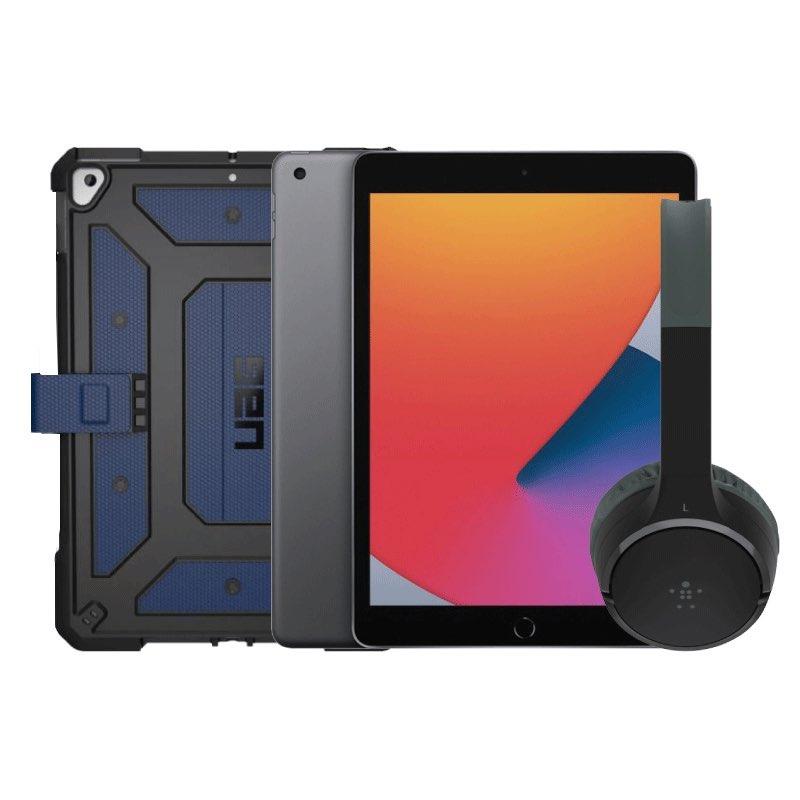 Conjunto iPad, capa UAG e auscultadores Belkin