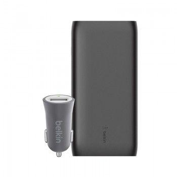 Conjunto composto por Powerbank 20k, cabo USB-C e carregador isqueiro Belkin Mixit cinzento