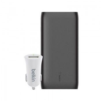 Conjunto composto por Powerbank 20k, cabo USB-C e carregador isqueiro Belkin Mixit branco