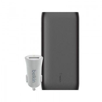 Conjunto composto por Powerbank 20k, cabo USB-C e carregador isqueiro Belkin Mixit prateado