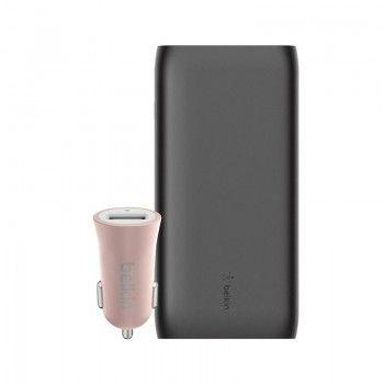 Conjunto composto por Powerbank 20k, cabo USB-C e carregador isqueiro Belkin Mixit