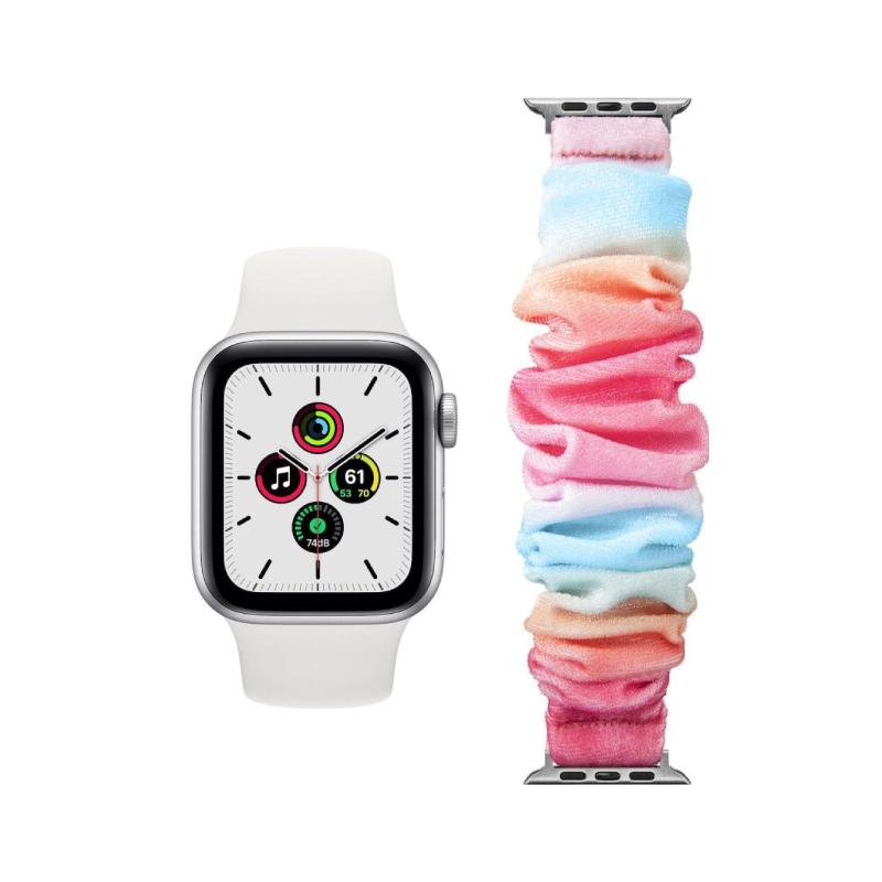 Conjunto composto por Apple Watch SE GPS 44 mm prateado e bracelete adicional Loop Pop Marshmallow