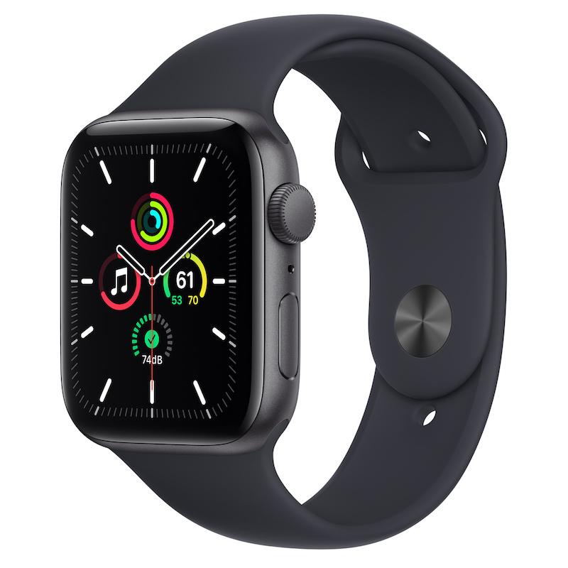 Apple Watch SE, GPS 44 mm - Cinzento sideral, bracelete desportiva Meia-noite