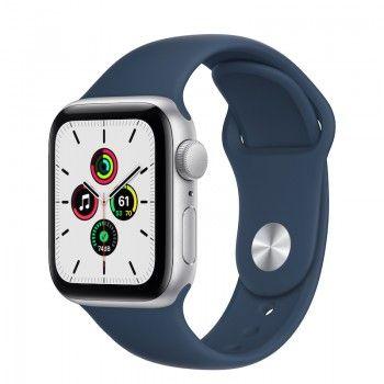Apple Watch SE, GPS 40 mm - Prateado, bracelete desportiva azul abissal
