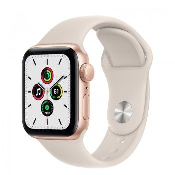 Apple Watch SE, GPS 40 mm - Dourado, bracelete Luz das estrelas