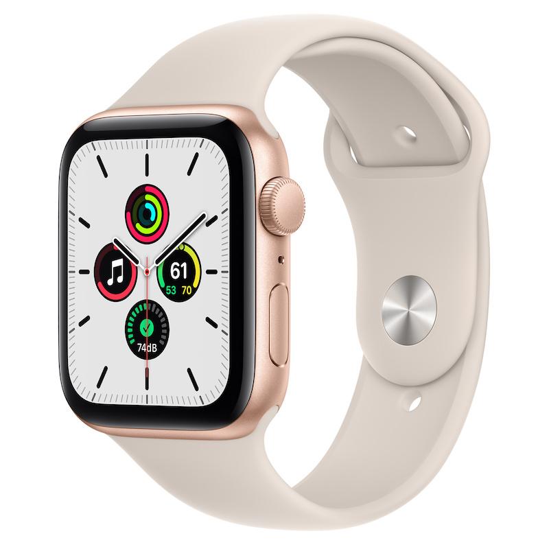 Apple Watch SE, GPS 44 mm - Dourado, bracelete desportiva Luz das estrelas
