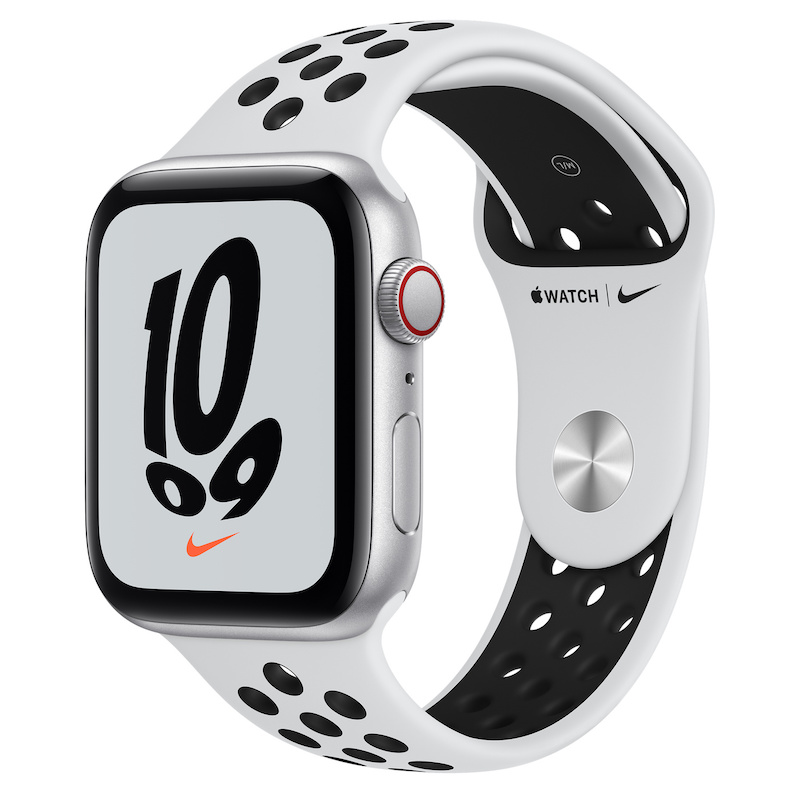 Apple Watch Nike SE, GPS+Cellular 44 mm - Prateado, bracelete Nike Platina/Preto