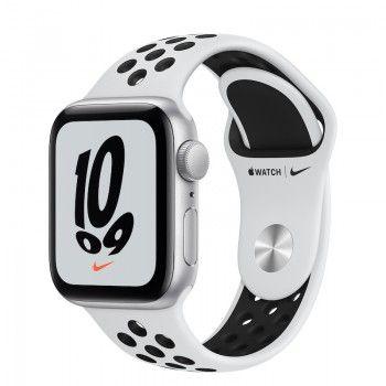 Apple Watch Nike SE, GPS 40 mm - Prateado, bracelete Nike Platina/Preto