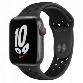 Apple Watch Nike SE, GPS+Cellular 44 mm - Cinzento sideral, bracelete Nike Antracite/Preto
