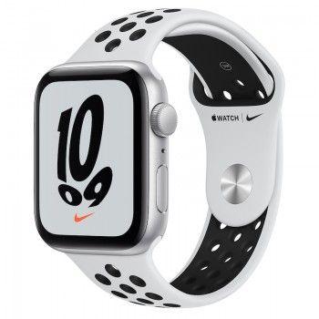 Apple Watch Nike SE, GPS 44 mm - Prateado, bracelete Nike Platina/Preto
